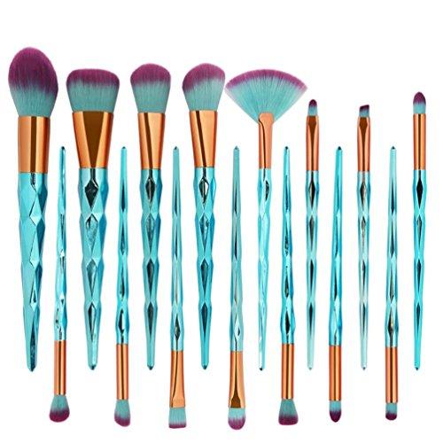 Pinceaux de Maquillage Professionnel Toamen Sirène FondationŒil Lèvre Contour Le fard à paupières Nouvelle Arrivee (15 Pcs Bleu)