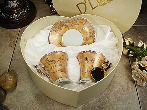 Gold Espresso Cupid Cups Gift Set in Heart Shape Box - Golden Handle Demitasse Cups by Dlusso Gold Demitasse Cup
