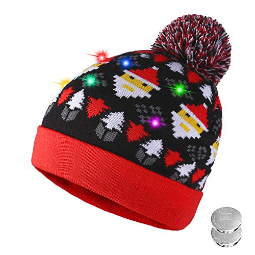 Tagvo LED leuchten Hut Mütze Stricken, 6 Bunte LED Xmas Weihnachten Hut Mütze, Winter Schnee Hut Pullover hässliche Urlaub Hut Beanie ()