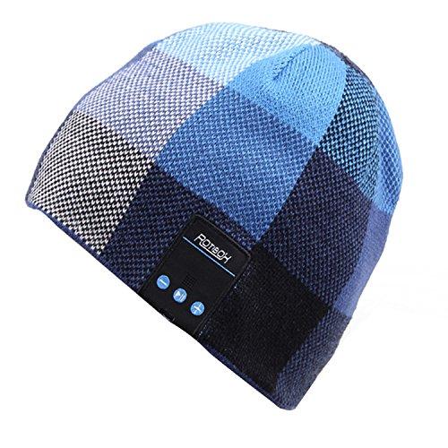 Rotibox inalámbrico Bluetooth Beanie Hat Headphone Auriculares Audio Audio Cap para las mujeres Hombres con altavoz y micrófono manos libres Deportes al aire libre, compatible con Iphone 6s / 6 más, Samsung, los mejores regalos de Navidad   Azul