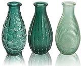 CHICCIE 3 Set Glas Vasen in Mustern und in Mint - Bauchig 14cm - Deko