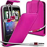 ( Hot Pink ) HTC Wildfire S G13 Protective Faux Leder Flip Case Hülle & LCD-Display Schutzfolie & Aluminium In-Ear-Ohrhörer Stereo-Ohrhörer mit Hands Free Mic & On-Off-Taste Einbau by ONX3