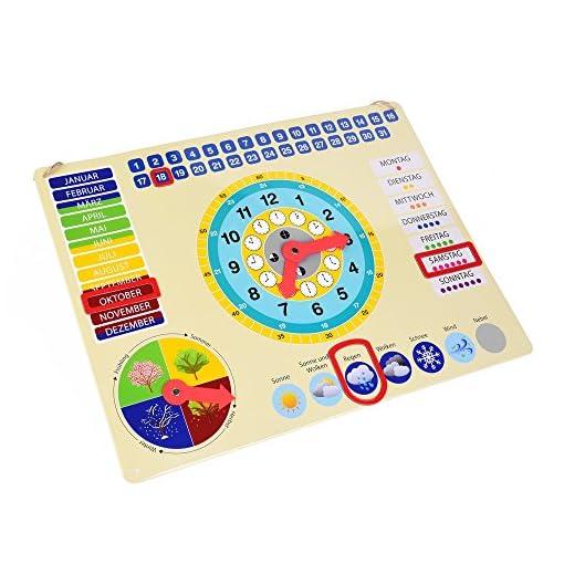Lernuhr-aus-Metall-farbenfrohe-Lerntafel-mit-Datum-Uhrzeit-und-Jahreszeiten-mit-drehbaren-Zeigern-und-schiebbaren-Kstchen
