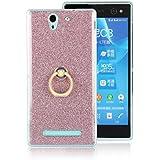 Meimeiwu Alta Calidad TPU funda cover caso + 360 Grados Rotaria Ring Holder para Sony Xperia C3 - Pink