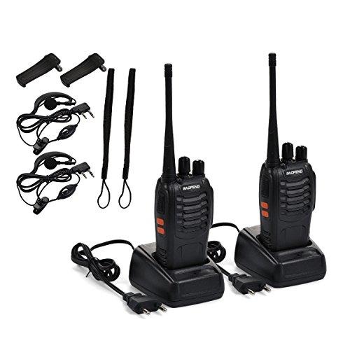 Funkprofi Walkie Talkie Set, BF-888S Wireless Professionelle Funkgeräte 16 Kanäle Reichweite 3 km Hand-Funkgerät Dual Band Radio CTCSS/DCS Rauschsperre 400-470 MHz 2 Stück Set (mit Kopfhörer)
