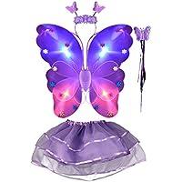 THEE LED Ala de Mariposa 4pcs Disfraz Luminoso de Mariposa para Niñas
