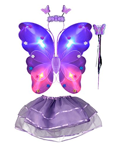 Thee 4LED vif aile de papillon fille Princesse Costume ailes avec baguette magique pour Party Carnaval fastnacht Costume enfant Halloween lilas