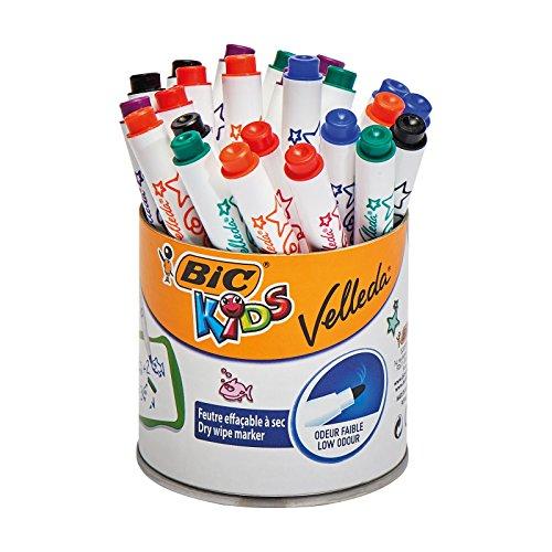 BIC KiDS - Pennarelli per lavagna magnetica Mini VELLEDA, cancellabili a secco, confezione da 24 pezzi Importata