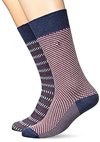 Tommy Hilfiger TH Men Three Tone Sock 2P, Chaussettes Homme, Blau (Jeans 356), 43-46 (lot de 2)