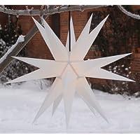 Melchior outdoor II weiß, sehr stabiler Außenstern Ø 60 cm, mit 20 Spitzen, inkl. 4 m Außenkabel Weihnachtsstern, Adventsstern