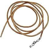 Unbespielt Collier en cuir marron naturel pour pendentif avec fermoir mousqueton argenté Pour homme, femme ou enfant Longueur 1m (peut être raccourci) Largeur 2mm