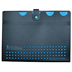 Manbhari Polypropylene A4 size file folder with 5 pockets( blue)