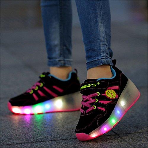LILY999 Unisex Kinder LED 7 Farbe Farbwechsel Lichter blinken Shoes Schuhe Flügel-Art Rollen Verstellbare Schlittschuhe Skateboard Lnline Sneaker Einzelnes Rad Jungen Mädchen - 4