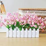 LLPXCC künstliche Blume Kreative Dekoration Esstisch ein Wohnzimmer eine moderne einfache europäischen Stil dekorative Blumen Zaun Blume Anzug Fenster Grün Pflanzen Topfpflanzen Rosa Holzzaun