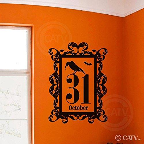 EvelynDavid Halloween Rahmen Oktober 31Crow Hochformat Vinyl Wanddekoration Schriftzug Aufkleber Home Decor Art Wand Aufkleber (mittel 16x 22)