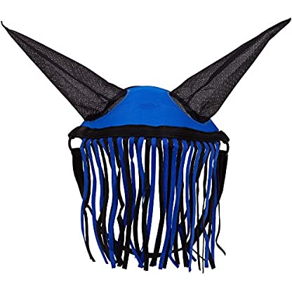 Aerborn Horse Fly Fringe Halter With Ears Protection Mask Pony Cob Horse Blue 1