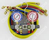 Yellow Jacket 49977 Titan 4-Valve Test and Charging Manifold degrees F, psi Scale, R-22/410A Refrigerant, Liquid Gauges by Yellow Jacket