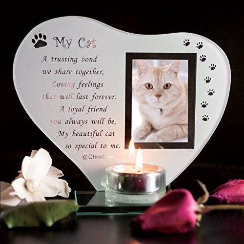 My Cat - Inspirierend Gedicht, Kerze und Fotohalter Glasgedenktafel