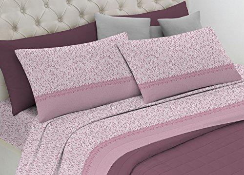 BIANCHERIAWEB Completo Lenzuola in Morbida Flanella Modello Dolcevita Disegno Petali Matrimoniale Rosa