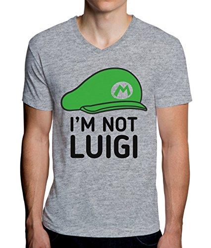 Mario Is Not Luigi - Hat Design Men's V-Neck T-Shirt Medium -