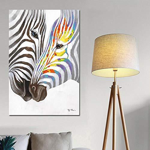 LYJDW Malerei Dekorative Leinwand Aquarell Zebra Weiß Schwarz Tier Leinwand Gemälde Skandinavische Kunst Minimalistischen Wand Bild Print Und Poster Modern Home Decor 60Cmx90Cm (Zebra-print-leinwand-wand-kunst)