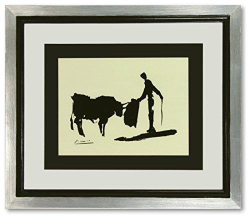 Kunstdruck Bild Pablo Picasso Bullfighter signiert mit Blattsilber Rahmen 51 x 44 cm PREIS-HIT