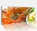 Acrylglasbild 100x40cm Garnele Mango Salat Küche Gericht Essen Acrylbild Glasbild Acrylglas Acrylglasbilder 14A1331, Acrylglas Größe1:100cmx40cm