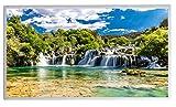 Bildheizung Infrarotheizung mit Digitalthermostat für Steckdose - 5 Jahre Herstellergarantie- Elektroheizung mit Überhitzungsschutz - TÜV geprüft - (Wasserfall Kroatien Krka Nationalpark;450W)