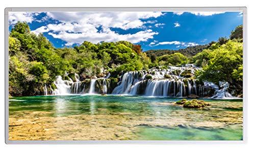 Bildheizung Infrarotheizung mit Digitalthermostat für Steckdose - 5 Jahre Herstellergarantie- Elektroheizung mit Überhitzungsschutz - TÜV geprüft - (Wasserfall Kroatien Krka Nationalpark;1000W)