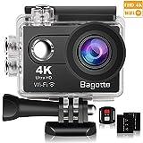 Bagotte Sport Action Cam, Action Camera 4K Ultra FHD 12MP 170° weiter Winkel Unterwasserkamera mit WiFi Fernbedienung Ausgabe,zum Schwimmen,Klettern,Tauchen (Schwarz)