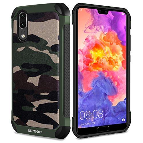 Epxee Hülle für Huawei P20, Silikon Handyhülle Schwarz TPU Bumper Cover Schutzhülle für Huawei P20 Case - Camouflage