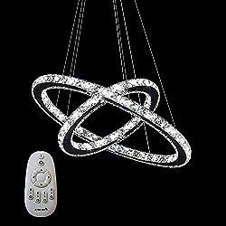 SAILUN® 48W 2 anillos Lámpara Colgante LED de Cristal Araña Moderna Lámpara Colgante Lámpara de Techo Blanco Cálido Iluminación Interior para comedor dormitorio salón (48W Regulable)