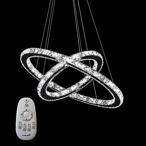 SAILUN 48W 2 Rings Pendant Lamp LED Crystal Chandelier Modern Pendant Lamp Ceiling Lamp Warm White Indoor Lighting for dining room living room (48W Dimmable)