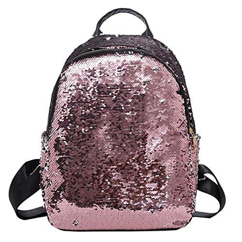 Moda donna ragazze paillettes-Saihui elegante lucido Bling zaino viaggio borse della spesa per scuola Teen Girl Woman Sparkle zaino casual rosa
