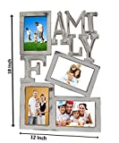 Wooden Family Photo Frame (Handcarved Family Tree Frame, Decorative Wall Hanging) - (18 x 12 Inches, White)