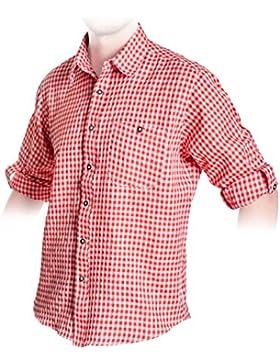 Trachten Hemd Rot, kariertes Trachtenhemd Größe S bis 3XL