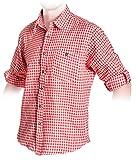 Trachten Hemd Rot, kariertes Trachtenhemd Größe S bis 2XL (2XL, Rot)