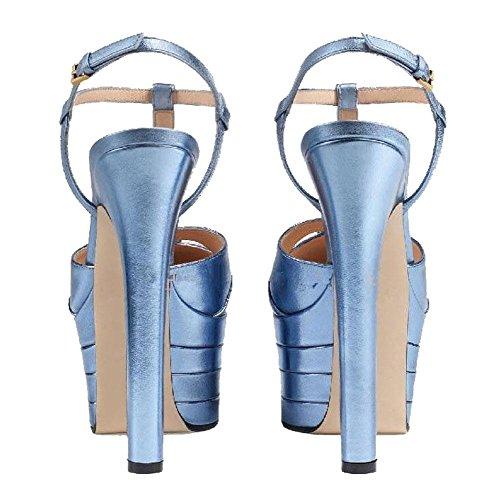 GLTER Donne Cinturino in cinghia Piattaforma Pump Slingback Sandali Tacco Alto Scarpe Romane Nero Bianco Oro Rosso Argento Size EU 33-42 silver blue