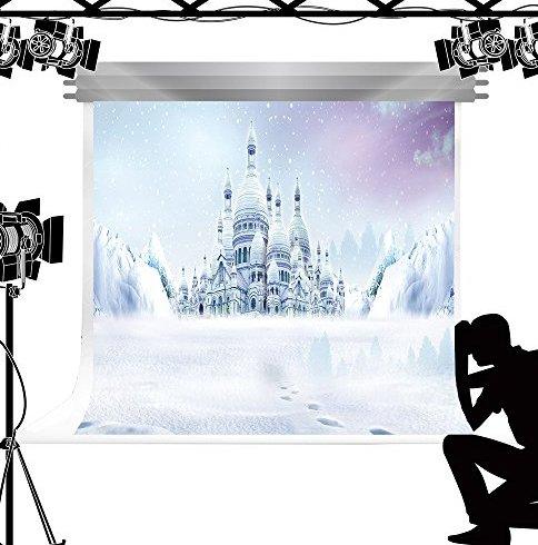 Kate Cartoon Ice Castle Foto Hintergrund weiß Schnee Hintergrund Welt für Kinder Studio Fotografie 7x5ft/2.2x1.5m