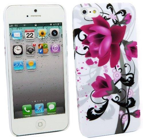 Kit Me Out DE Kunststoff Aufsteckhülle für Apple iPhone SE / 5S - Kreise mit Blumen Violette Blüten