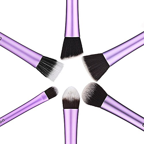 Makeup Brushes, USpicy Synthetic Brushes Set 6-Piece Professional Cosmetics Make Up Brush Kit with Gift Box and Gift Card (Purple)