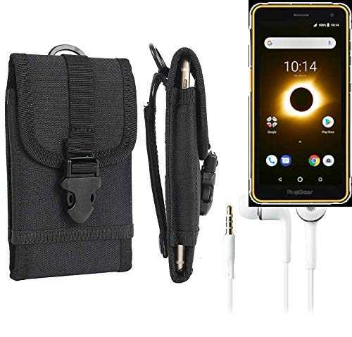 K-S-Trade® Schutzhülle Für Ruggear RG650 Gürteltasche Handyhülle Schutz Hülle Gürtel Tasche Handy Tasche Outdoor Seitentasche Schwarz 1x + Kopfhörer