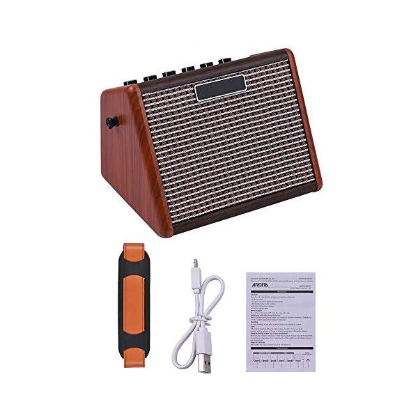 Asdomo AG-15A 15W Amplificatore portatile per chitarra acustica Amplificatore BT Altoparlante Batteria ricaricabile integrata con interfaccia per microfono