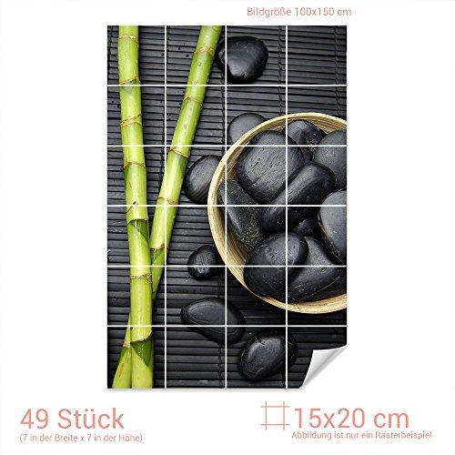 Graz Design 761558_15x20_100 Fliesenaufkleber Bambus/Massagesteine   Bad-Fliesen mit Fliesenbildern überkleben (Fliesenmaß: 15x20cm (BxH)//Bild: 100x150cm (BxH))