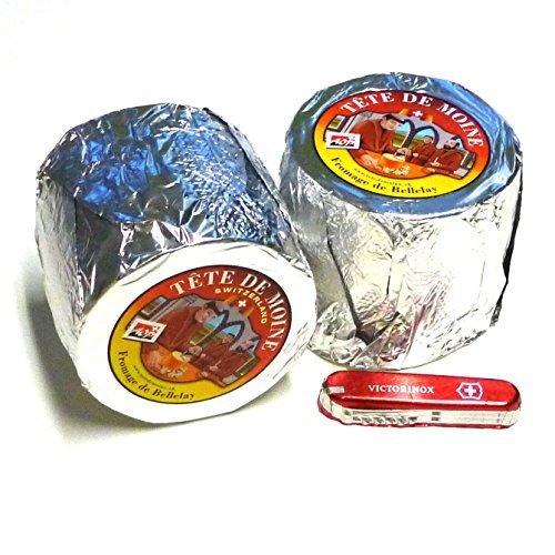 Preisvergleich Produktbild Tete de Moine Käse AOP 2 ganze Laibe ca 1700g + Schweizer Schokoladen Taschenmesser