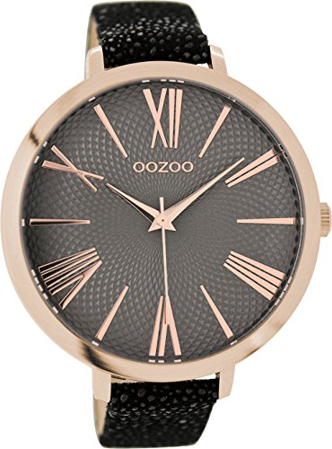Oozoo Damenuhr mit Lederband 48 MM Rose/Grau/Schwarz Grau C9174
