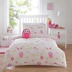 just kidding parure de lit chouette simple. Black Bedroom Furniture Sets. Home Design Ideas