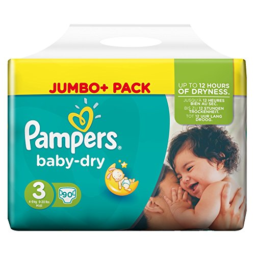 Pampers Baby Dry Größe 3 Midi 4-9kg Jumbo Plus Pack (1 x 90 Windeln)