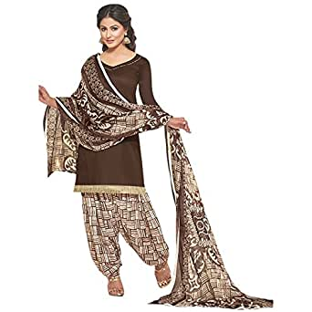 EthnicJunction Women's Glace Cotton Patiala Style Unstitched Dress Material (EJ1127-12018_Brown)