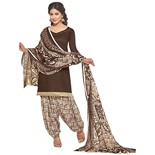 EthnicJunction Women\'s Glace Cotton Patiala Style Unstitched Dress Material (EJ1127-12018_Brown)